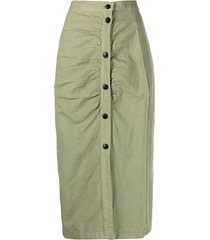 masscob ruched button-front skirt - green