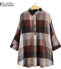 zanzea vendimia de las mujeres de manga larga solapa de tapas de la camisa a cuadros comprobar turn down cuello de la blusa -café