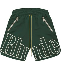 drawstring logo shorts olive green