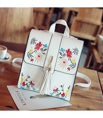 mochilas/ mochila floral mujeres casual leather girls-blanco