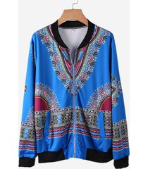 giacche sottili a maniche lunghe con cerniera a maniche lunghe stampate etniche