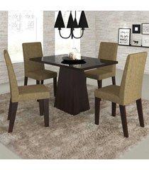 mesa de jantar 4 lugares merengue com vidro preto 11570 ameixa/neve - mobilarte móveis