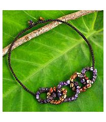 amethyst and carnelian necklace, 'chain reaction' (thailand)