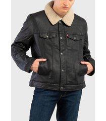 chaqueta levis trucker pu cuello desmontable quilted lining  negro - calce regular