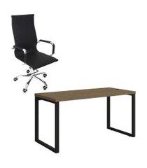mesa de escritório kappesberg 1.50m e cadeira trevalla presidente