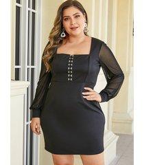vestido de manga larga con cuello cuadrado negro de malla talla grande de yoins