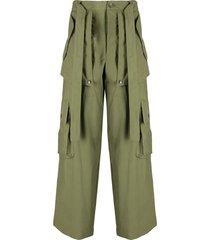 kenzo tie-waist cargo trousers - green