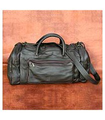 leather travel bag, 'brazil in dark brown' (medium) (brazil)