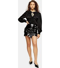 petite black faux leather vinyl ruffle skirt - black