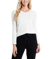 cece rhinestone-embellished puffed-sleeve sweater