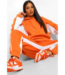 petite oversized colour block hoodie, orange
