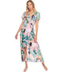 mc2 saint barth pink tropical print long dress