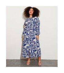 vestido chemise longo plus size estampado lorena blue manga bufante mindset lorena moreira azul