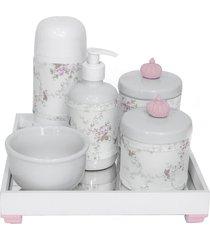 kit higiene espelho completo porcelanas, garrafa pequena e capa coroa rosa quarto bebê menina