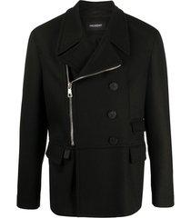 neil barrett casaco assimétrico com fechamento por zíper - preto