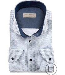 john miller modern fit overhemd blauw print