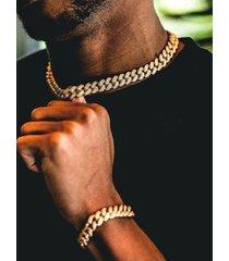 collar de cadena de diamantes de imitación pavimentados de oro cubano para hombre
