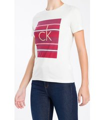camiseta calvin klein listras - rosa - pp
