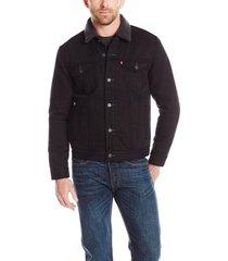 levi's men's good sherpa trucker jean jacket in black