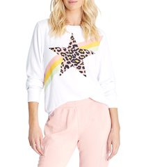 wildfox leopard star graphic sweatshirt, size large in clean white at nordstrom