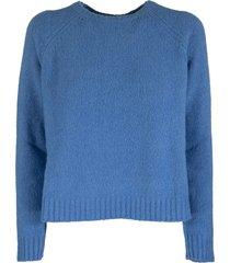 max mara amici crew neck sweater in alpaca light blue