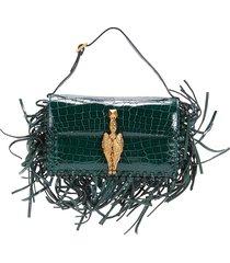 valentino garavani women's griffin fringe crocodile shoulder bag - rubin