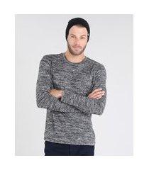 suéter masculino em tricô slim fit gola redonda cinza mescla escuro