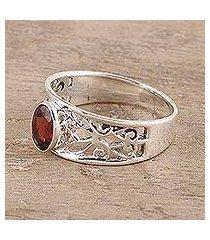 garnet solitaire ring, 'lace tiara' (india)