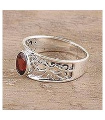 garnet solitaire ring, 'lace tiara' (india)