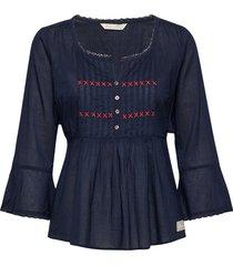 alma blouse blouse lange mouwen blauw odd molly