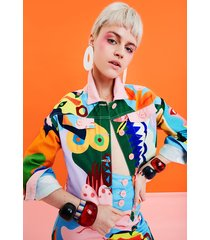 multicolour jacket - material finishes - xl