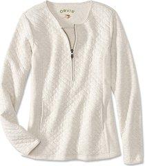 quilted henley half-zip sweatshirt, oatmeal, x large