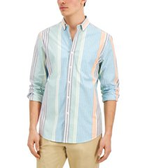 club room men's regular-fit vertical stripe oxford shirt, created for macy's