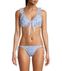 claudia ruffled floral bikini top
