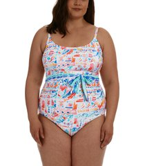 la blanca terra belted one-piece swimsuit, size 22w in multi at nordstrom