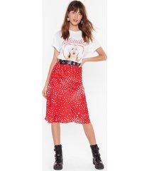 womens she's got that star power polka dot midi skirt - red