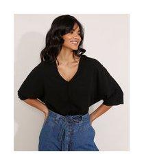 blusa ampla básica manga curta decote v preta