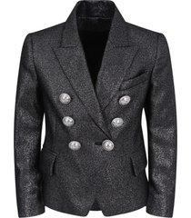 balmain black lurex jacket for girl