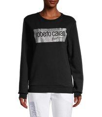 roberto cavalli women's metallic logo sweatshirt - black - size xs