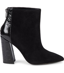croc-embossed leather & suede point-toe booties
