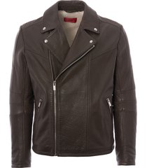 hugo lanster leather biker jacket - dark green 50394016