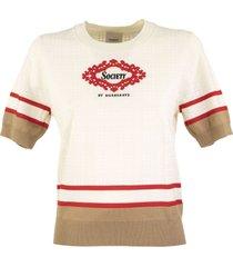 burberry mckenna short-sleeve archive scarf detail merino wool top