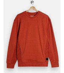 mens brown topman ltd rust panel sweatshirt