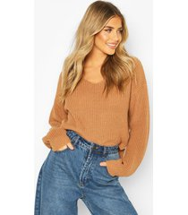 cropped fisherman v neck sweater, toffee