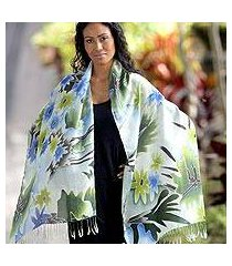 silk batik shawl, 'festive flowers' (indonesia)