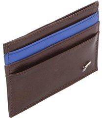 porta-cartão couro ellus recortes marrom/azul - kanui