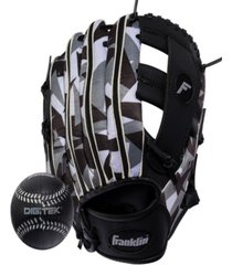 "franklin sports 9.5"" rtp teeball performance glove and ball combo black/white-left handed thrower"