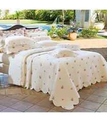 colcha / cobre leito bordado queen palha e flores em percal algodão 230 fios - acetinado - essenza com 3 peças - ruth sanches