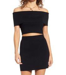 women's open edit off the shoulder crop sweater, size x-large - black