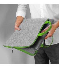 etui laptop filcowe zielona rączka